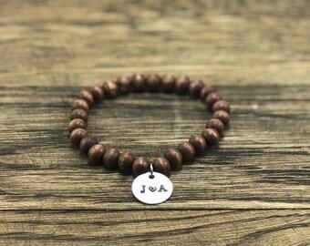 Couple Initial Bracelet | Initial Charm Bracelet, Wood Charm Bracelet Custom Initial Bracelet, Initial Bracelet Charm, Charm Bracelet