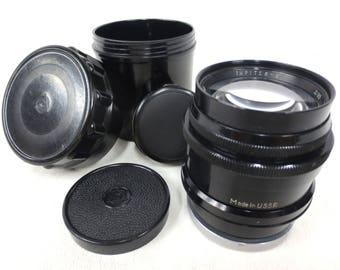 Vintage Jupiter-9 85mm f2.0 Lens for M42 Camera with Case & Caps, Russia USSR