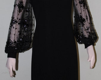 "M/L Little black dress with beaded net sleeves, vintage 1960's, 32"" waist"