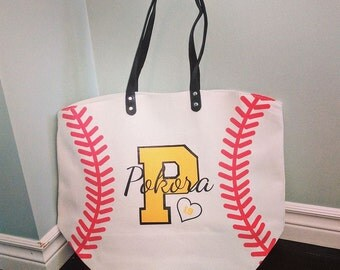 Custom Personalized Baseball Lined Canvas Tote