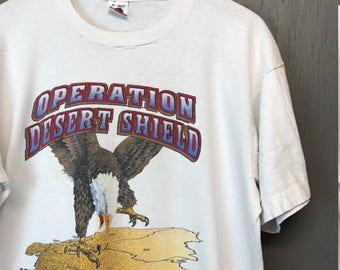 XL * Vintage 1990 Operation Desert Shield t shirt * gulf war storm