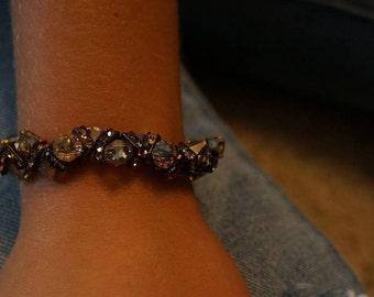 Colorado Topaz Swarovski Crystal & gold rock candy bracelet