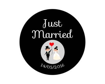 """Just Married"" wedding magnet, badge, mirror, bottle opener black & white"