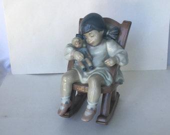 "LLADRO figurine ""Naptime"" Girl sleeping in rocking chair. #5448"