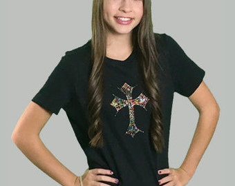 Multi-colored cross on black heather shirt