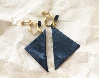 Leather earrings - Clip on earrings, Non pierced earrings