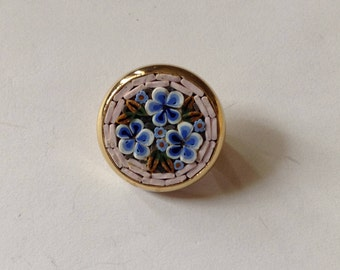 Inlaid mosaic pin with 3 eggshell blue flowers