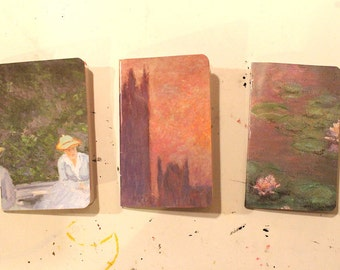 3 Notebook Set: Monet in Pink, Size A6 Pocket Notebooks