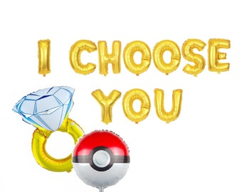 I Choose You Balloon Letters Pokemon Engagement Party Decor Engagement Ring Pokemon Engaged Letter Balloons Banner Engagement Decorations