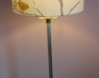 "30cm handmade lampshade in Sanderson "" Dawn Chorus"" fabric."