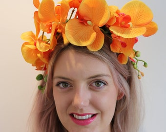 Orange Flower Crown Headdress Festival Headpiece Fascinator