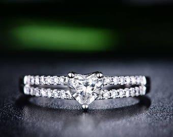 Heart Moissanite Engagement Ring 14k White Gold Art Deco Forever One Moissanite Ring Diamond Engagement Ring Anniversary Ring