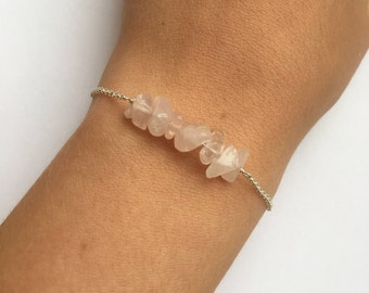 Dainty rose quartz chip bracelet - crystal bracelet, January birthstone bracelet, tiny rose quartz bracelet, natural chip bracelet