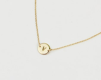 Personalized Gift for Her - Personalized Disc Necklace - Initial Monogram Necklace - Personalized Small Disc on Gold or Silver Chain