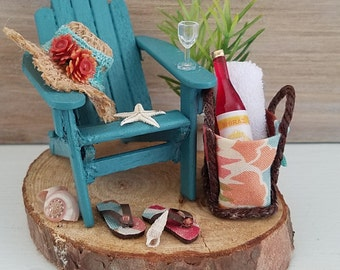 Miniature Beach Scene, Miniature Adirondack Chair, Vacation Scene, Dollhouse Beach Scene, Handmade, OOAK