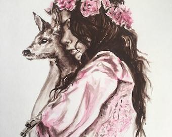 Print of Watercolor Girl with Deer