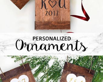 Wedding Gift for Couple Christmas Ornaments Personalized First Christmas Ornament Married First Christmas Wedding Ornament Rustic Ornament