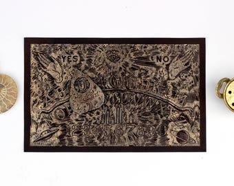 Copper Ouija Board and Planchette Color Change Linocut Print