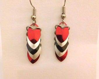 Tiny Dragon Scale Earrings - Red, Silver, and Black