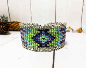 Gift Ethnic Multicolor bracelet Clothing gift Woman Bead cuff Silver bead bracelet Weaving Ornament Beaded Christmas gift bead