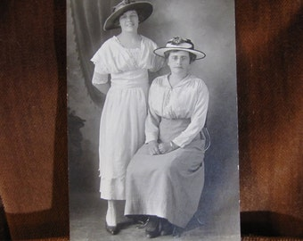 Vintage Real Photo Postcard in Black & White Dated to the Late 1910s - early 1920s Portrait of Women's Fashion