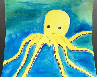 Nursery art - watercolor yellow and blue octopus by Sun Valley Dandelion