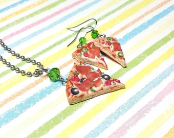 Pizza necklace Pizza earrings Pizza slice jewelry set Foodie gift Miniature food Italian food jewelry Pizza party Tiny food Fake food gift