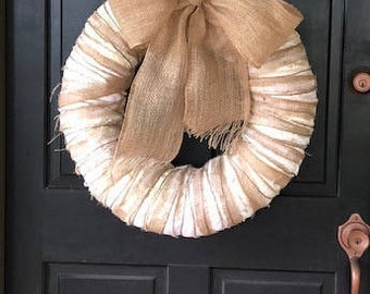 Cotton and Burlap Natural Farmhouse Wreath