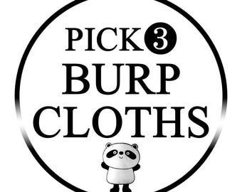 Set of 3 Burp Cloths | Baby Shower Gift | Burp Cloth Set | Baby Gift | Drool Bibs | Set of Burp Cloths | Baby Girl Gift | Baby Boy Gift