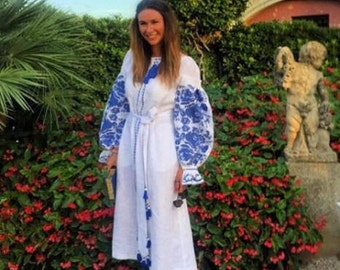 Ukrainian Dress Kaftan Abaya Dresses Vyshyvanka Woman Bohemian Clothing Maxi Embroidered Dress Ethnic Ukrainian Boho Clothes Vishivanka