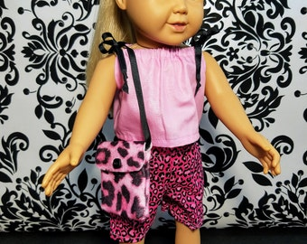 18 Inch Doll Clothes- 3pc T-shirt Pants with Leopard Print Purse