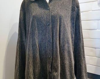 80's sweater, 1980's style, Retro grey sweater, Vintage grey cardigan Velvet knit cardigan 1980's sweater Vintage cardigan Oversize cardigan