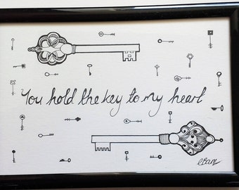 Valentines -You hold the key to my heart- Typogoraphy and Illusration- Quote