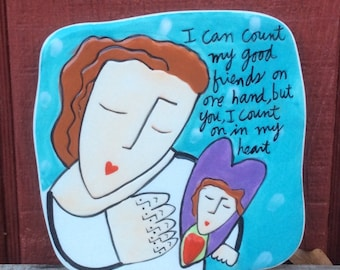 Friendship Love Decorative Wall Hanging Tile Designed by Sandra Magsamen Handcrafted for Silvestri Hand Painted Ceramic Plaque Raised Heart