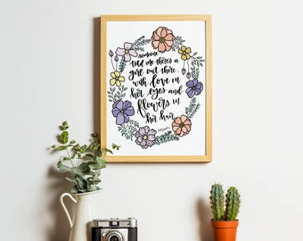Floral Wreath Quote Printable - Going to California