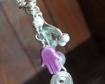 Meditation Charm: Charm Necklace-Hamsa-Quartz-Fluorite-Howlite-Silver Spirals-Yoga Jewelry-Yoga Jewelry-Meditation Necklace-Kundalini