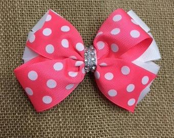 Polka dot double bow - medium size hair clip