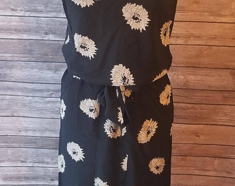 VTG MaxMara Black Floral Pleated Dress