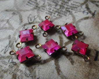 Frosted Neon Pink 6mm Square Glass Brass Ox Connectors Two Loops 6 Pcs