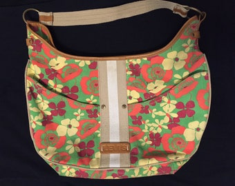 Cheerful Levi's Vintage Floral Denim Purse from the 80s