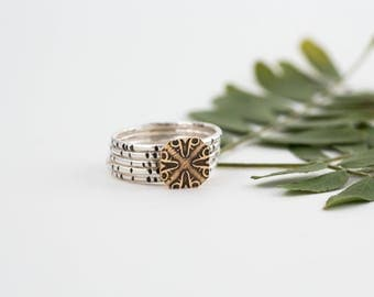 Nile River Stacking Rings, Mixed Metal, Etched, Bamboo, Brass, Ancient Egypt, Gifts for Her, BOHO Style, Silver Stacking Ring, Wild Reeds