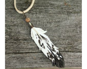 Sub-Adult Bald Eagle Feather Pendant - Leather Bird Feather Jewelry - 3 inch Necklace