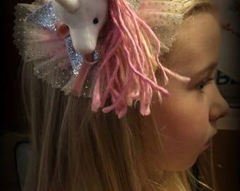Unicorn hair accessory Barrette, Magical Glitter Faux Vegan Taxidermy Fascinator, soft sculpture, plush animal rainbow kid, pin burlesque