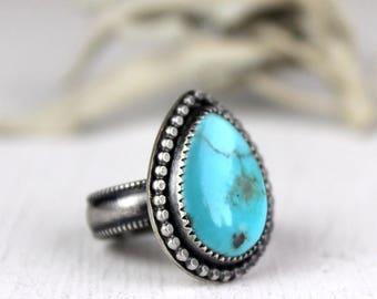 Blue Turquoise Statement Ring, Adjustable Boho Southwestern Ring, Size 6.25 to 6.5, Ready to ship