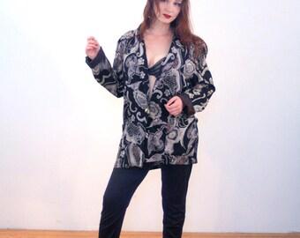 80s Kensington Square Blazer L, Black Print Blazer, Black & Gray Rayon Jacket, Slouchy Women's Blazer, Vintage Oversized Jacket, Large