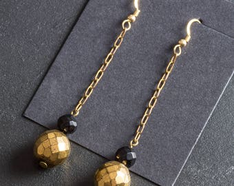 50% OFF SALE Vintage Golden Dangle Drop Earrings w/ Faceted Glass Disco Ball Beads on Brass Chain & 14K Gold Filled Ear Wires Hooks Jewelry