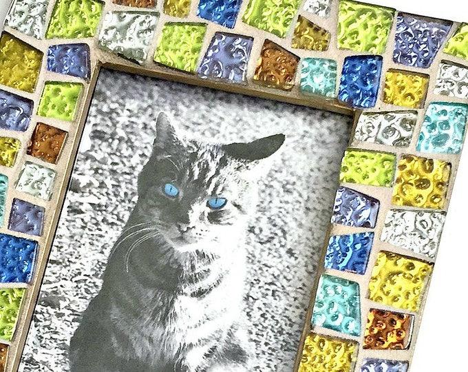 Gem Stone Colored Mosaic Glass Tile Frame, Iridescent Glass Tile Mosaic Frame, 4x6 Frame with Glitter Tiles, Handmade Mosaic Tile Frame