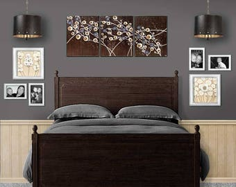 Abstract Wall Art, Large Acrylic Painting of Flowers in Dark Brown and Gray, Three Piece Art Original on Canvas - 50x20