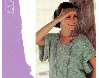 Vintage Patons 7413 Knitting Pattern Women's Loose Baggy Fit V Neck Short Roll Sleeve Summer Top Bust 32 34 36 38 Small Medium