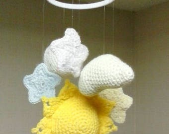 Unisex baby mobile  Crocheted amigurumi  Nursery mobile  Sun moon and stars  Crib mobile